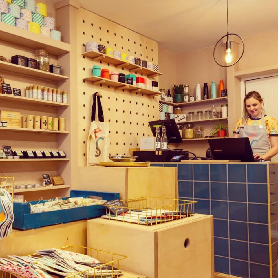 Co-founder Charlie in her Leamington zero waste shop