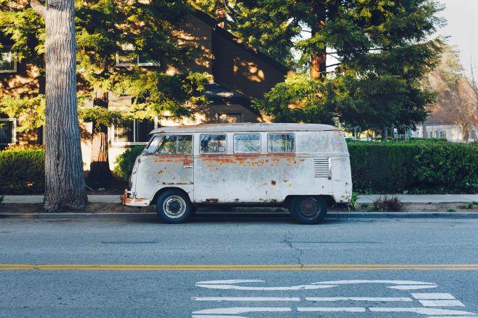 VW van parked in Palo Alto