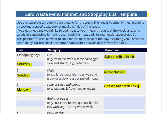 Use this template to plan your zero waste meals